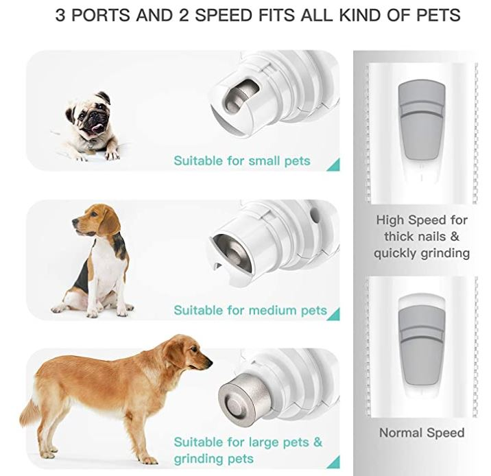 INVENHO Pet Nail Grinder Electric Paw Trimmer Clipper Small Medium Large Dogs